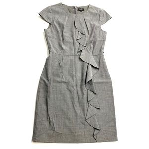 Tahari Gray Ruffle Front Midi Dress